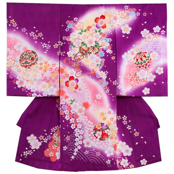 お宮参り女児1023 紫地/毬と桜花舞