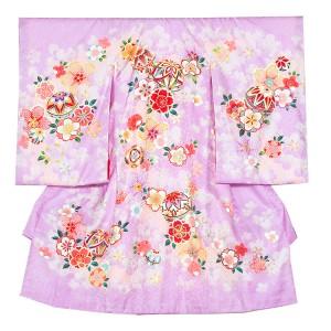 【正絹】お宮参り女の子1049 薄紫 /毬と花模様