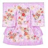 女児産着1049 薄紫地/毬と花模様