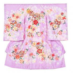 お宮参り女児1049 薄紫地/毬と花模様