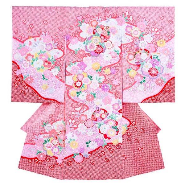 お宮参り女児1040 ピンク地/毬と菊華の絞り