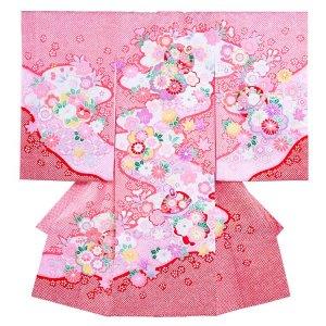 お宮参り女の子1040 ピンク /毬と菊華の絞り