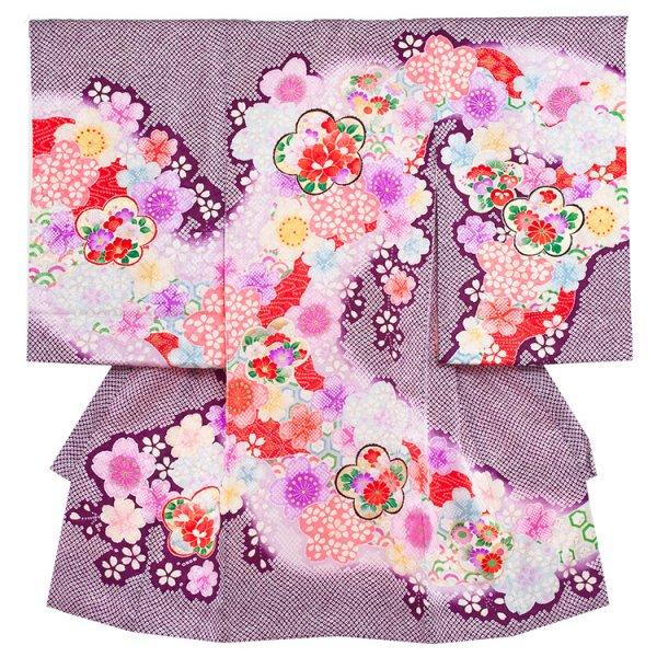 お宮参り女児1091 紫地/祝華の絞り調
