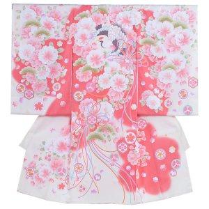 お宮参り女の子1001 クリーム /桃花と鶴JS