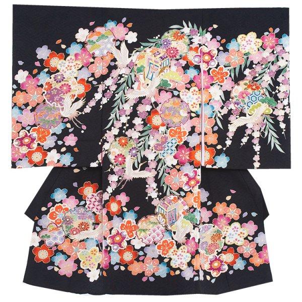 お宮参り女児1095 最高級黒/手描き寿鶴