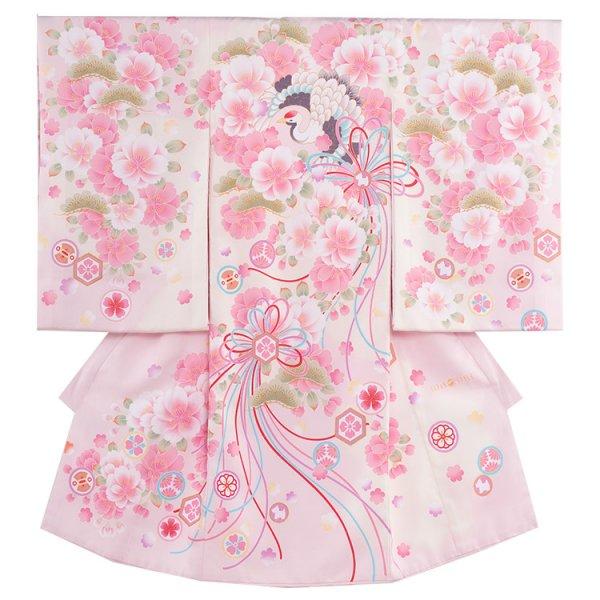 お宮参り女児1002 淡桃地/ピンク花と鶴