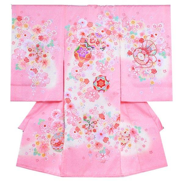 お宮参り女児1041 ピンク地/毬と小花