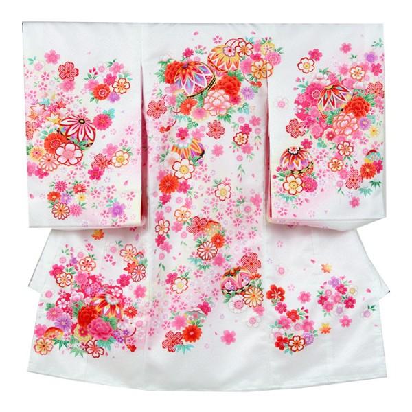お宮参り女児1007 白地/毬とピンクの花舞