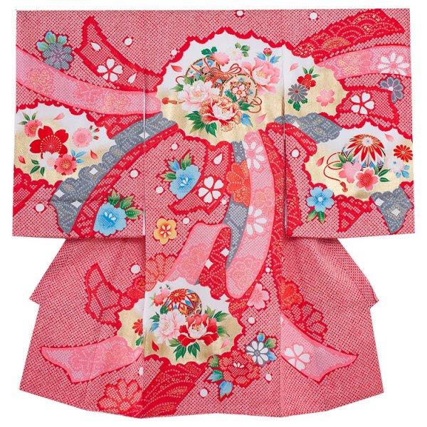 お宮参り女児1089 赤地/華牡丹の絞り調