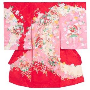 【正絹】お宮参り女の子1134 赤 /毬と蝶
