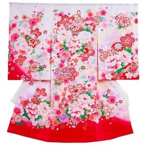 【正絹】お宮参り女の子1107 白 /毬と牡丹