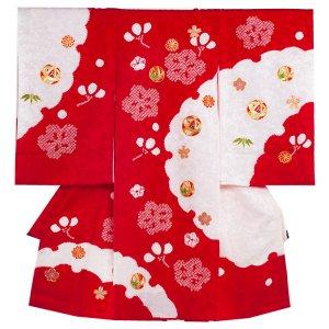【正絹】お宮参り女の子1187 赤/刺繍・鞠