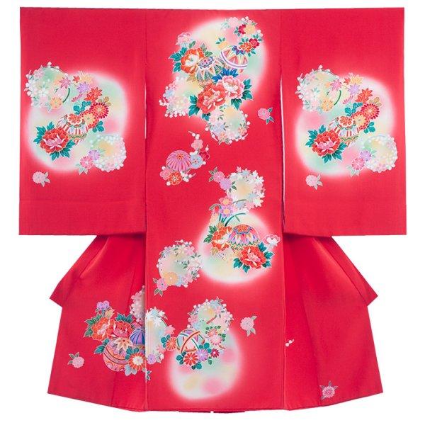 お宮参り女児1014 赤地/毬と刺繍の手描き友
