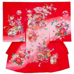 【正絹】お宮参り女の子1180 赤/扇と牡丹