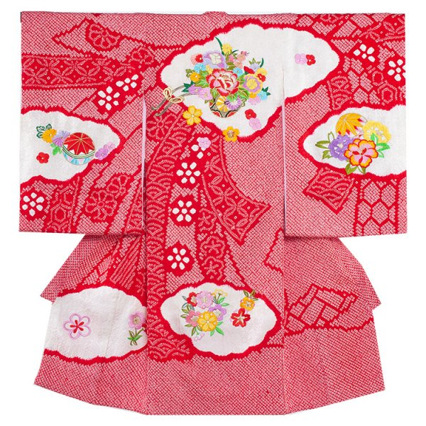 お宮参り女児1034 赤地/本絞りと刺繍花車