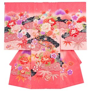 お宮参り女の子1067 ピンク /大牡丹と華群れ