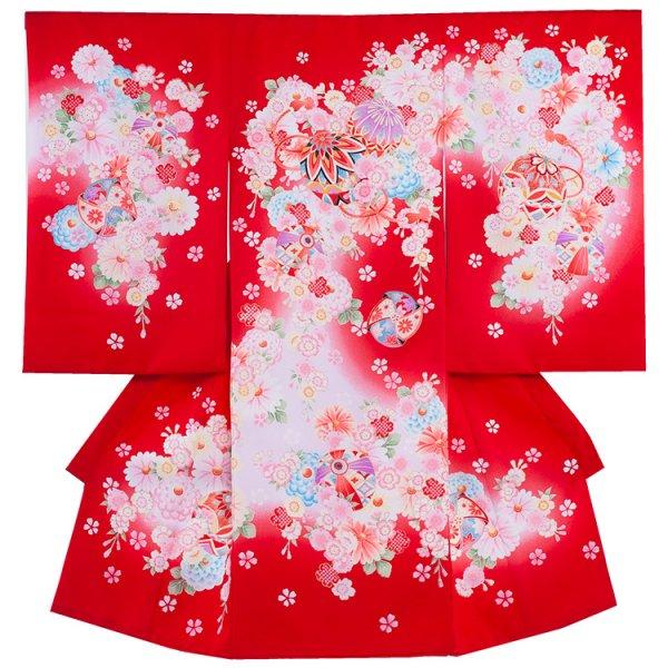 お宮参り女児1057 赤地/毬と小花