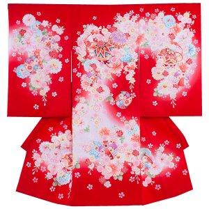 お宮参り女の子1057 赤 /毬と小花