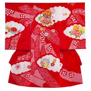 【正絹】お宮参り女の子1071 赤 /本絞りと刺繍毬と華