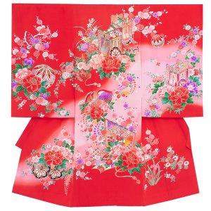 【正絹】お宮参り女の子1165 赤 /御所車と鞠