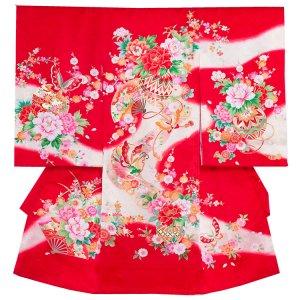 【正絹】お宮参り女の子1219 赤/毬と蝶
