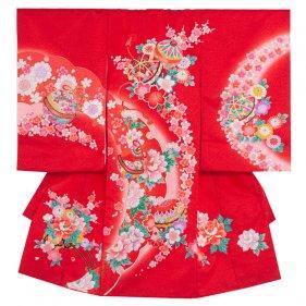 お宮参り女児1079 赤地/毬と桜