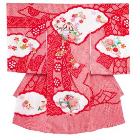 お宮参り女児1020 赤地/本絞りと刺繍の技