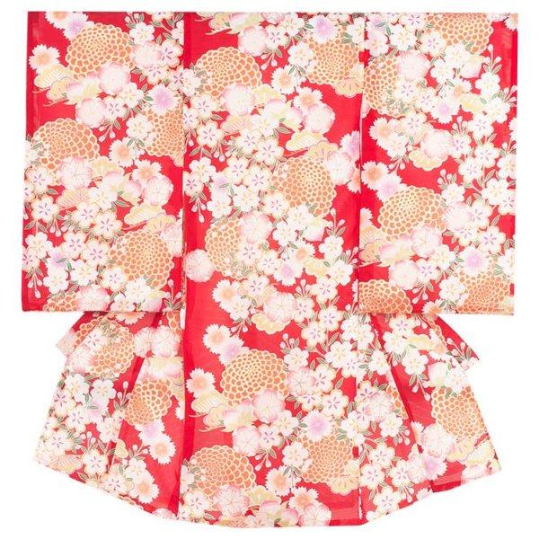 女児産着46a 赤地/和菊と桜