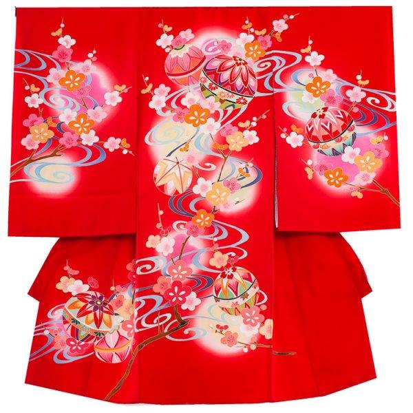 お宮参り女児1069 赤地/毬と桜