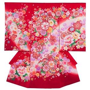 お宮参り女の子1043 赤 /毬と華吹雪