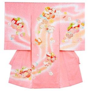 お宮参り女の子1172 ピンク /うさぎと花々