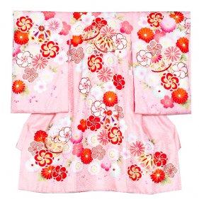 お宮参り女児1082 ピンク地/和花と毬