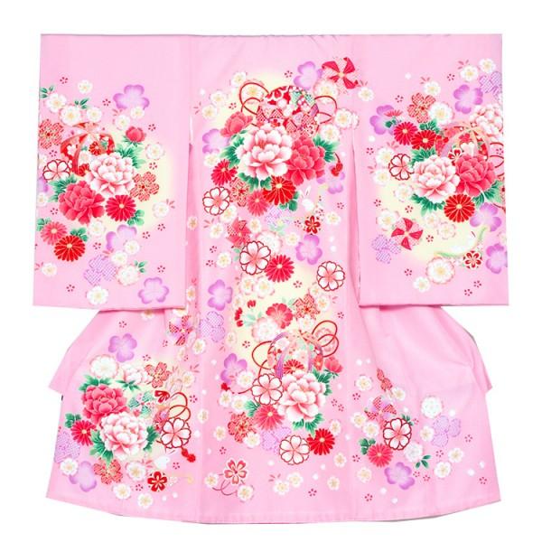 お宮参り女児1059 ピンク地/洋花と白うさぎ