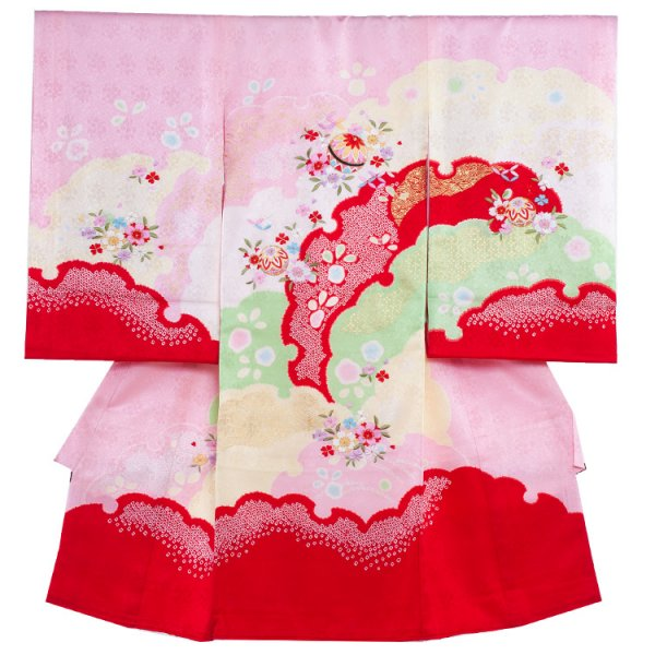 お宮参り女児1050 ピンク地/刺繍毬の絞調