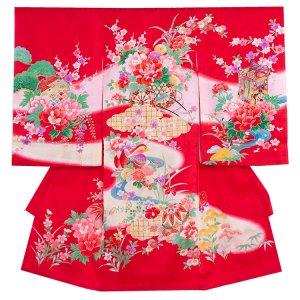 お宮参り女の子1045 赤 /牡丹とおしどりの古
