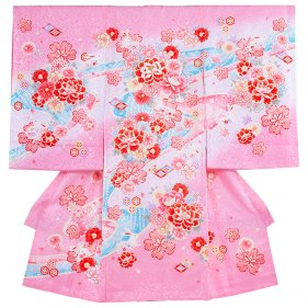 お宮参り女児1065 ピンク地/刺繍牡丹とうさ