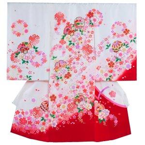 【正絹】お宮参り女の子1047 白 /祝つつみと華吹雪