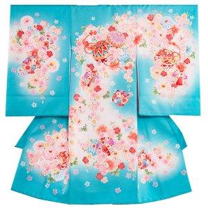 お宮参り女の子1058 水色 /毬と小花