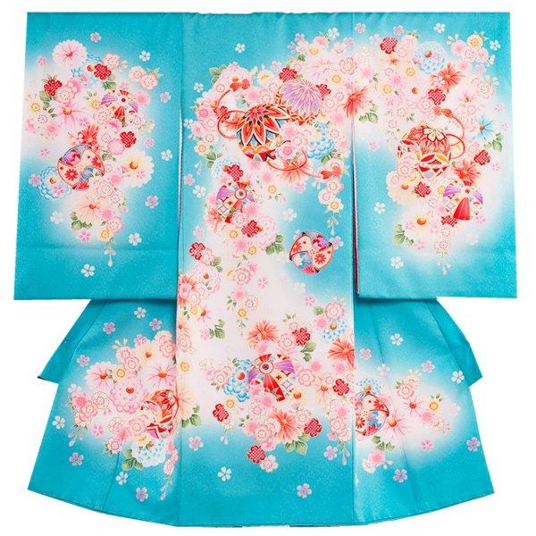 お宮参り女児1058 水色地/毬と小花
