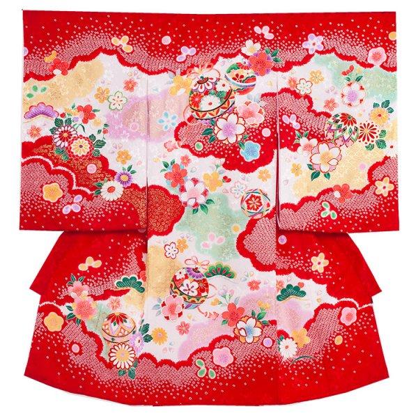 お宮参り女児1092 赤/桜鞠の絞り調