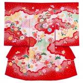 女児産着1092 赤/桜鞠の絞り調