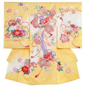 お宮参り女の子1152黄 毬と花