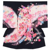 お宮参り女児1008 黒×ピンク地/花と束のし