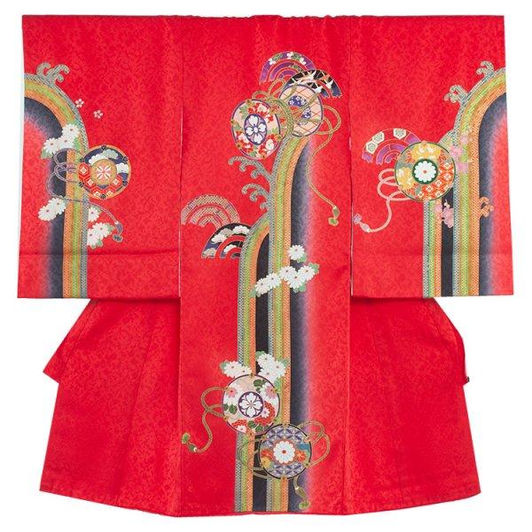 お宮参り女児1080 赤地/小槌と菊