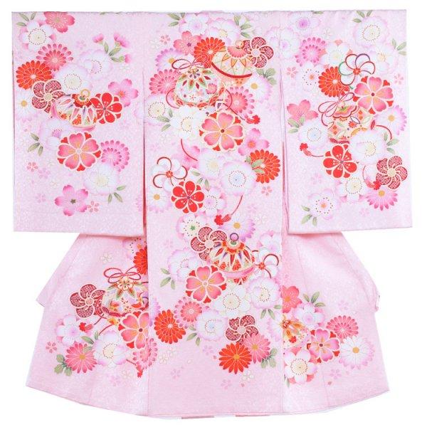 お宮参り女児1104 ピンクラメ地/毬と花