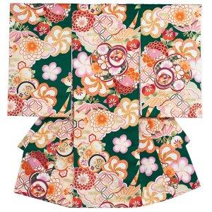 お宮参り女の子1162 緑/ねじり梅 古典柄