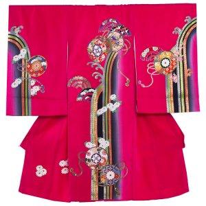 【正絹】お宮参り女の子1081 ワイン /小槌と菊