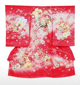 お宮参り女児1029 赤地/花盛車と桜吹雪