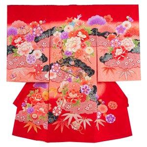 【正絹】お宮参り女の子1073 赤 /大牡丹と華群れ