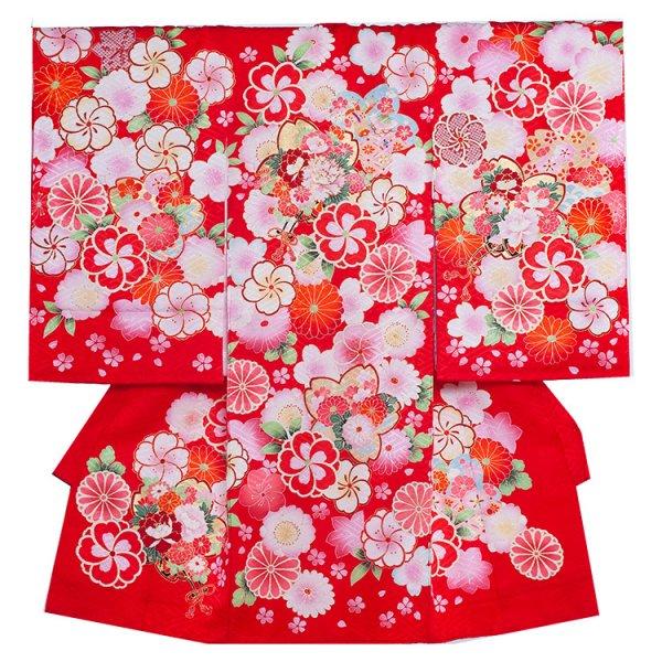お宮参り女児1083 赤地/和花の華